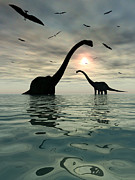 Roaming Digital Art Posters - Diplodocus Dinosaurs Bathe In A Large Poster by Mark Stevenson