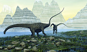 Paleozoology Art - Diplodocus Dinosaurs Munch by Corey Ford