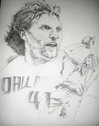 Dirk Drawings - Dirk Nowitzki by Otis  Cobb