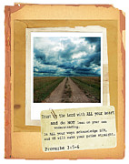 Bible Photo Posters - Dirt Road with Scripture Verse Poster by Jill Battaglia