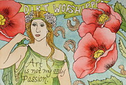 Female Glass Art Posters - Dirt Worshipper Poster by Sheri Howe