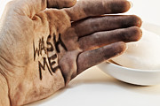 Grime Metal Prints - Dirty hand with soap Metal Print by Blink Images
