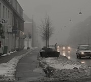 Foggy Street Scene Acrylic Prints - Dirty Winter Acrylic Print by Odd Jeppesen