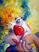 Clown Painting Originals - Disappointed by Myra Evans