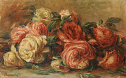 Red Flowers Painting Posters - Discarded Roses  Poster by Pierre Auguste Renoir