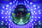 Disco Digital Art - Disco Ball Blue by Andee Photography