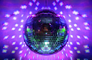 Dark Blue Green Posters - Disco Ball Purple Poster by Andee Photography