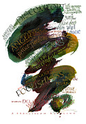 Meditations Prints - Discomfort Green Print by Judy Dodds