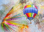Hot Air Balloon Digital Art Prints - Discovery Print by East Coast Barrier Islands Betsy A Cutler