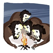 Cavemen Art - Discovery Of Fire, Artwork by Paul Brown