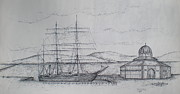 Tall Ship Drawings Prints - Discovery Print by Sheep McTavish