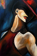 Figures Paintings - Discreet by Thomas Fedro by Tom Fedro - Fidostudio