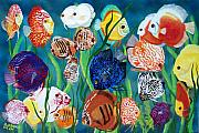 Fish Paintings - Discus Fantasy by Debbie LaFrance