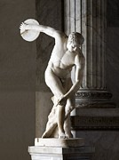 Olympian Framed Prints - Discus Thrower Statue Framed Print by Sheila Terry