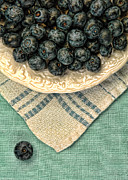 Linens Prints - Dish of Fresh Blueberries Print by Jill Battaglia