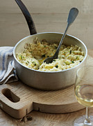 White Wine Framed Prints - Dish Of Vegetable Risotto With Wine Framed Print by Cultura/BRETT STEVENS