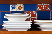 Wooden Bowls Framed Prints - Dishes in Front of Colorful Tile Framed Print by Thom Gourley/Flatbread Images, LLC