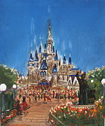 Disney Paintings - Disney World by Miroslaw  Chelchowski