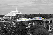 Travelpixpro Posters - Disney World Monorail Color Splash Black and White Prints Poster by Shawn OBrien