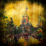 Red Buildings Digital Art Posters - Disney World Poster by Svetlana Sewell