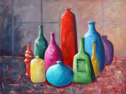 Jugs Prints - Display Bottles Print by Phyllis Howard