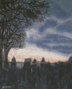 Spooky Scene Paintings - Distant Glow by Peg Graham