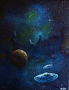 Space Ships Painting Framed Prints - Distant Nebula Framed Print by Murphy Elliott