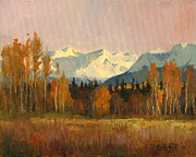 Fall Paintings - Distant Peaks by Douglas Girard