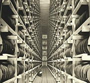 Padre Art Photo Framed Prints - Distillery Barrel Racks 1905 Framed Print by Padre Art