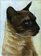Linda Apple Originals - Distinctly Siamese - cat portrait oil painting by Linda Apple