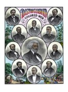Black History Drawings Framed Prints - Distinguished Colored Men Framed Print by War Is Hell Store