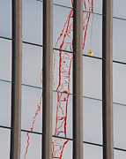 Towering Posters - Distorted Reflection of a Tower Crane Poster by Thom Gourley/Flatbread Images, LLC