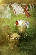 White Wicker Posters - Distressed photo of wash day  Poster by Sandra Cunningham