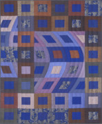 Blue Tapestries - Textiles Posters - Disturbances 2 Poster by Marilyn Henrion