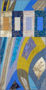 Blue Tapestries - Textiles Posters - Disturbances 5 Poster by Marilyn Henrion