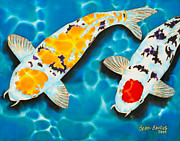 Tropical Art Tapestries - Textiles Prints - Ditsu Koi Print by Daniel Jean-Baptiste