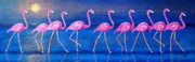 Flamingos Paintings - Diva Madness by Susan DeLain