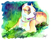 Staffordshire Bull Terrier Paintings - Diva Momma Pit Bull by Christy  Freeman
