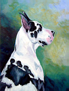 Great Dane Portrait Posters - Diva the Great Dane Poster by Lyn Cook