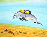Snorkeling Painting Originals - Dive Buddy by Jerome Stumphauzer