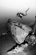 Kimbe Bay Framed Prints - Diver Explores The Wreck Framed Print by Steve Jones
