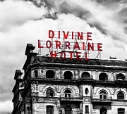 Broad Street Digital Art Posters - Divine Lorraine Hotel Marquee Poster by Bill Cannon