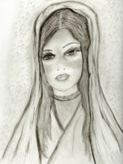 Virgin Mary Drawings Prints - Divine Mary Print by Sonya Chalmers