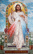 Religious Mosaic Mixed Media Prints - Divine Mercy  Print by Janet Flom