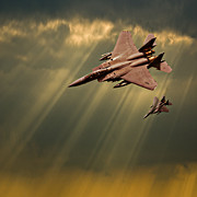 F-15 Prints - Diving Eagles Print by Meirion Matthias