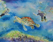 Scuba Paintings - Diving for Turtles by Laura Bird Miller