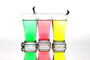 Food And Beverage Glass Art Metal Prints - Diving in colorful water Metal Print by Paul Ge