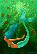 Green Pastels Posters - Diving Mermaid Fantasy Art Poster by Sue Halstenberg