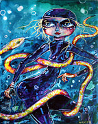 Multi Colored Paintings - Diving with Serpent by Leanne Wilkes