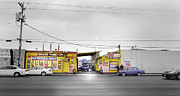 Car Repairs Photo Prints - Division Street Commerce Print by Kevin Felts